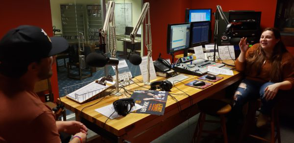 Cassandra Muhr hosts her radio show from the WNJR station in the Howard J. Burnett Center.